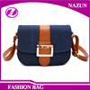2016 new trendy latest blue cotton denim fancy lady mini simple shoulder bags with PU leather belt