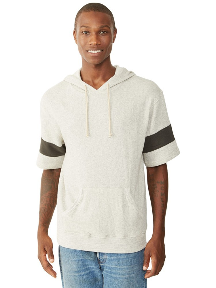Mens french terry short sleeve hoodie