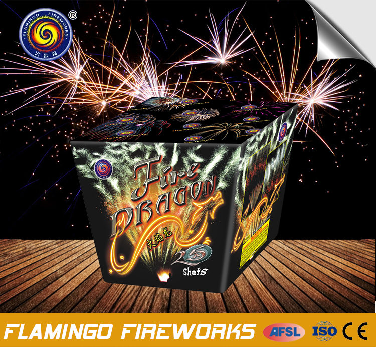 Promotional price 25S Fire Dragon FAN cake firework candle