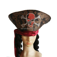 Party plush Caribbean Pirate Captain jack hat with hair weave MCH-0218