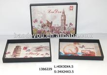 decorative wood tray with canvas cover set/3