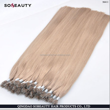 YBY nano ring virgin double stranded hair extensions micro ring hair