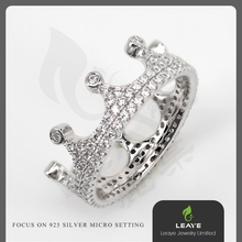 Hot Sale 925 Sterling Silver King & Queen Crown Shaped Ring
