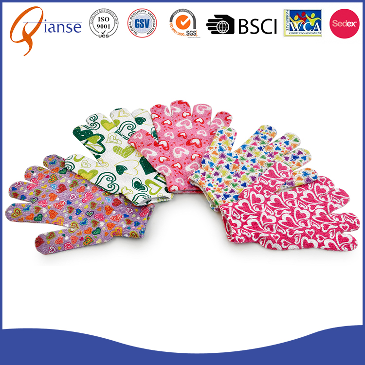 Customized factory price body rubbing bath mitt , nylon exfoliating kids baby bath glove
