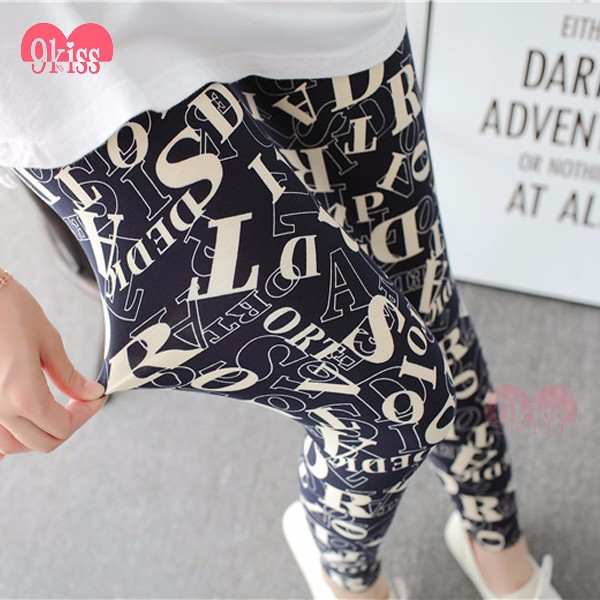 High Waist Soft Brushed Alphabet Letter Sexy Schoolgirl Leggings