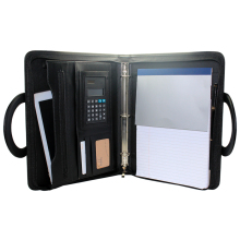 Wholesale Custom A4 Black Conference Folder Business Portfolio Zipped with Notepad