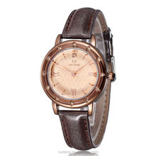 New Arrival Elegant Rhinestone Watch Women Luxury Brand Roman Number Leather Watches Strap Famous Female Rose Gold Quartz Watch