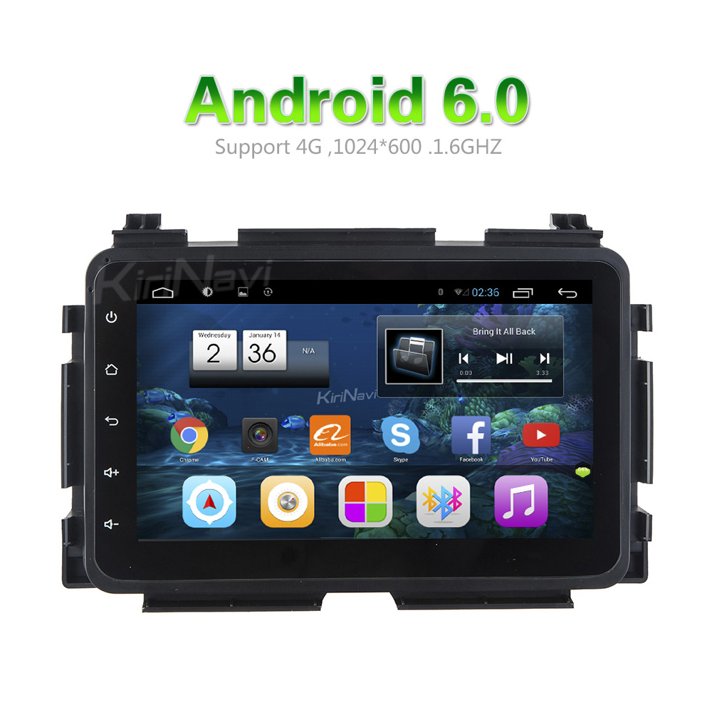 "KiriNavi Android 6.0 8"" car audio for honda hrv 2015 2016 2017 car dvd gps navigation system 3g playstore bluetooth"