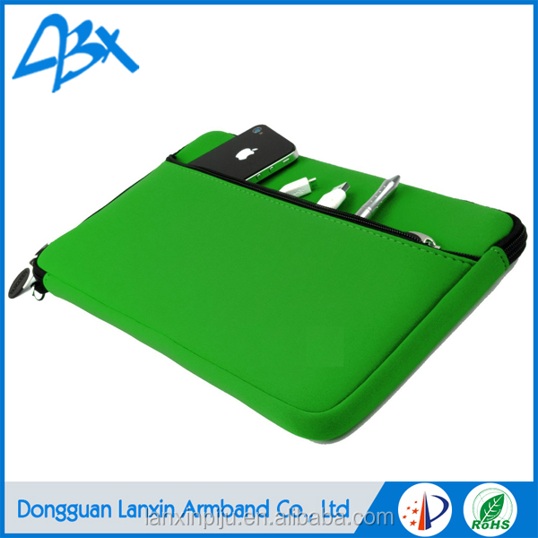 High quality neoprene laptop sleeve without zipper green color for Tablet