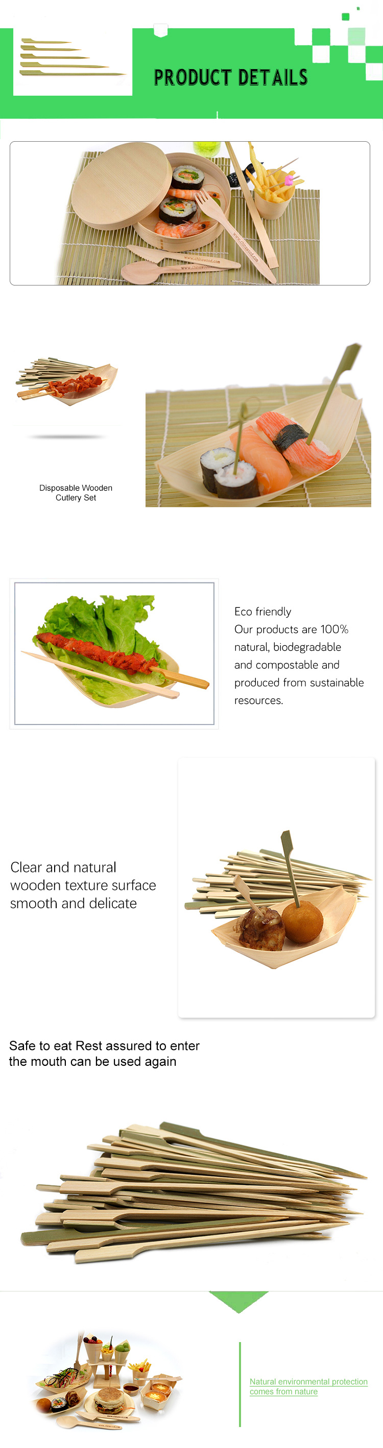 User-friendly design bamboo shish kabob Teppo Gushi-gun skewer