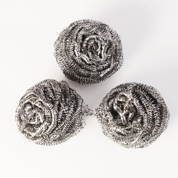 Stainless Steel Wire Kitchen Dish Cleaning Ball Scrubbers - Silver 3pcs