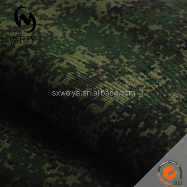 Pigment printed camouflage t/c twill fabric with waterproof