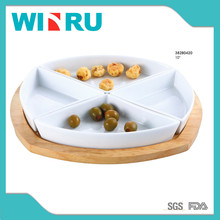 bulk ceramic pocerlain 4 compartment plates dishes with wood tray