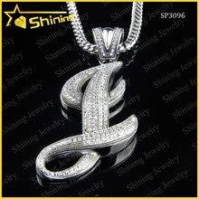 Unisex STAINLESS STEEL Hip Hop Iced Crystal Alphabet Initial Letter Bling Pendant Charm
