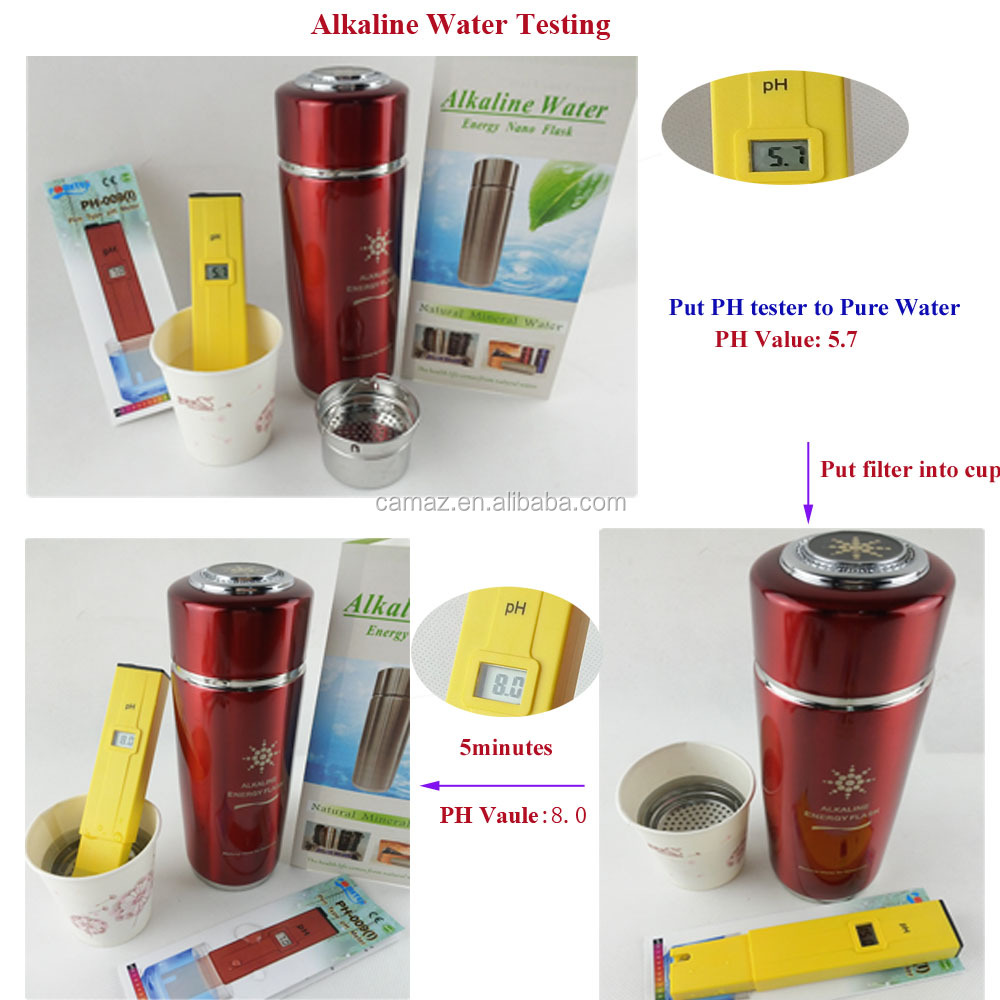 2017 Factory wholesales 400ML Alkaline Tourmaline Nano water energy cup with filter PH 9.0