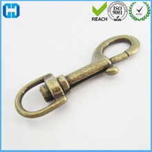 Round Steel Swivel Eye Bolt Snap Hook, Brass Plated For Sale