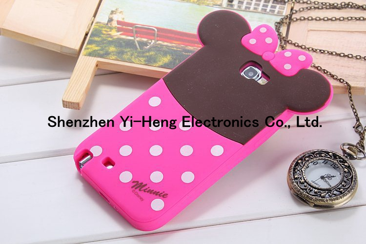 2014 New Arrival Hot Sales Lovely Cute Cartoon Shadow Silicon Case For Samsung GALAXY N7100 NOTE2 NOTE3 Cover Case