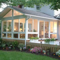 Price of new design promotional glass houses aluminum plastic sunroom