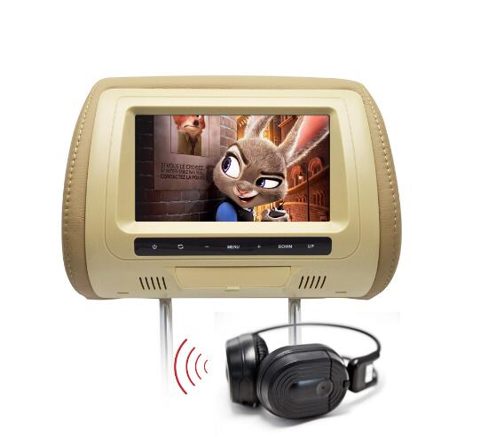 9 Inch Car Headrest DVD Player - Region Free, IR Remote Control,SD Card Slot, Leather zipper Universal Fit