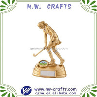 Gold female hockey trophy souvenir