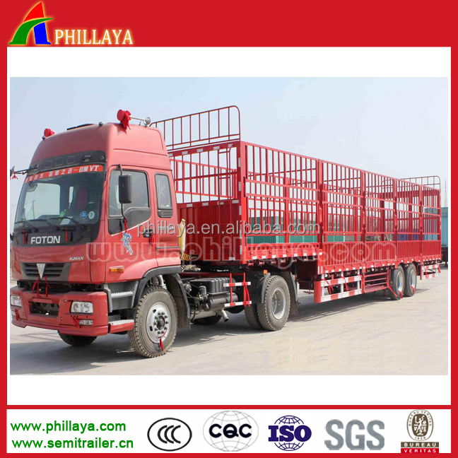 2016 new type three FUWA axles german suspension stake truck trailer to transport animals