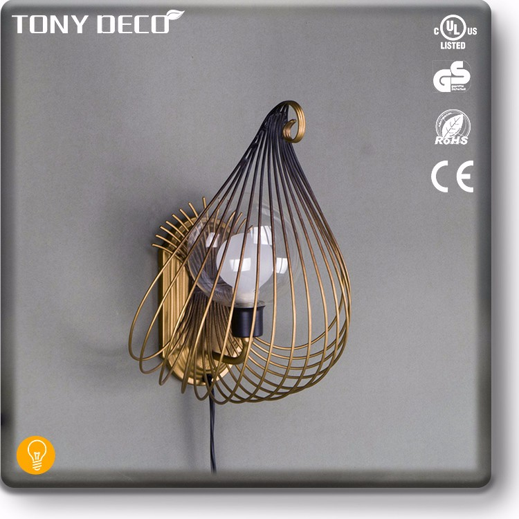 BAA65423 Iron Wire Water Drop Shape Decoration Wall Light Cage Cover