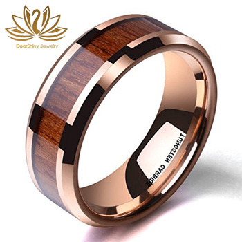 Tungsten and Wood Wedding Bands 8mm Nature Wood inlay Rose Pink Rings Jewelry Factory
