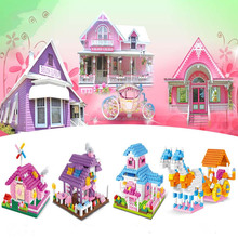 Kids Educational Toy Plastic Nano Block Diamond Blocks PRINCESS HOUSE Series Funny Brick Building Bricks Toys