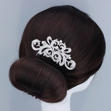 Luxury Cluster Crystal Micro Pave Setting Tiara Hair Comb For Wedding Bride