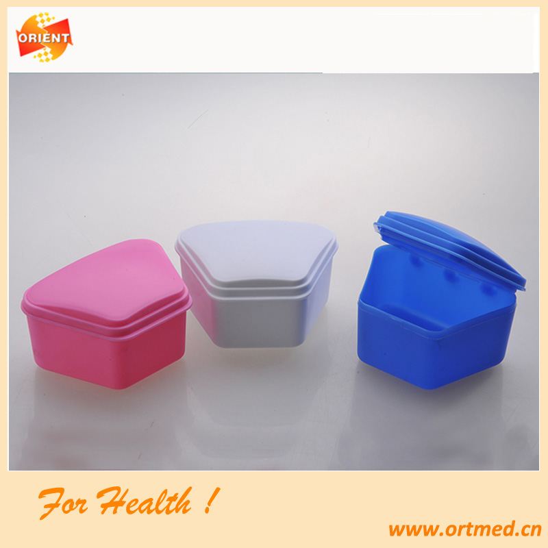 mixed color mouth guard case,orthodontic bracket box,low price denture box