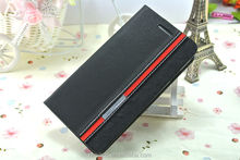 Protective stand flip leather phone cover custom wallet case for Huawei Ascend P6