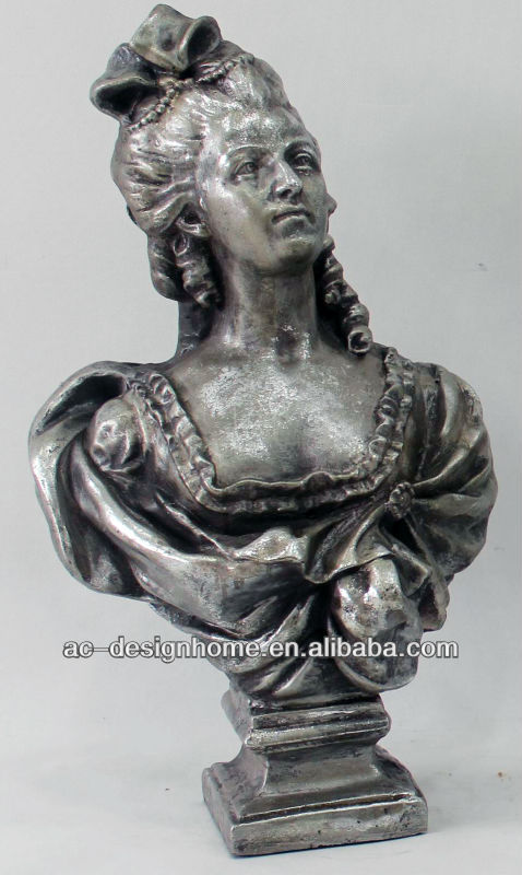 ANTIQUE SILVER POLYRESIN LADY BUST SCULPTURE
