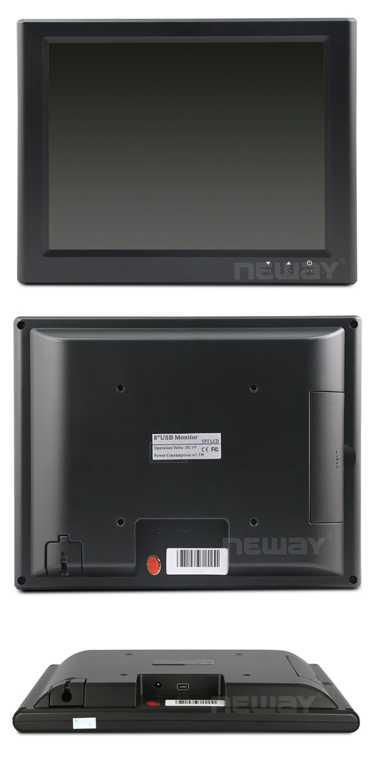 4.3 8 Inch Small Monitor 4-Wire Resistive USB LCD Touchscreen Display