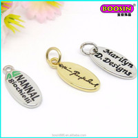 Manufacturer wholesale zinc alloy brand log tag custom metal engraved jewelry tag charm #19539