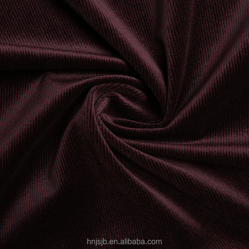 Wholesale Haining Crimson pinstripe corduroy fabric 100% polyester materials wide wale corduroy fabric
