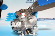 Stainless Steel Female Three Way Ball Valve Screwed End, SS316
