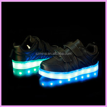 2016 children fashion LED lighting shoes sneakers with USB charging 7 colors, kids led lighting shoes in stock for boy girl