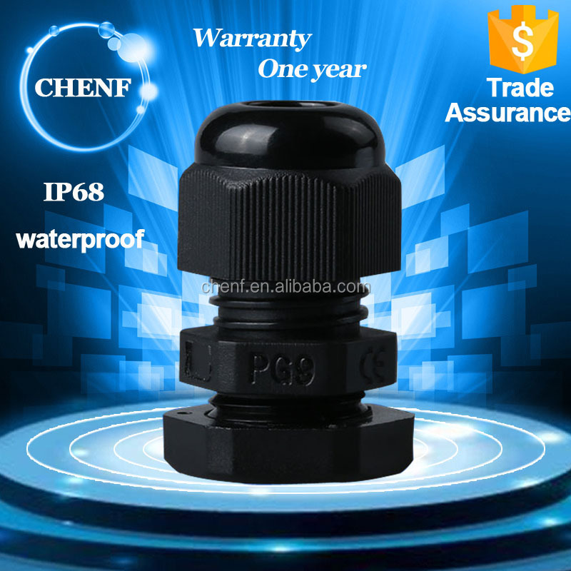 CE Approved Nylon IP68 PG9 standard black waterproof elelctrical cable gland price with 4-8mm cable