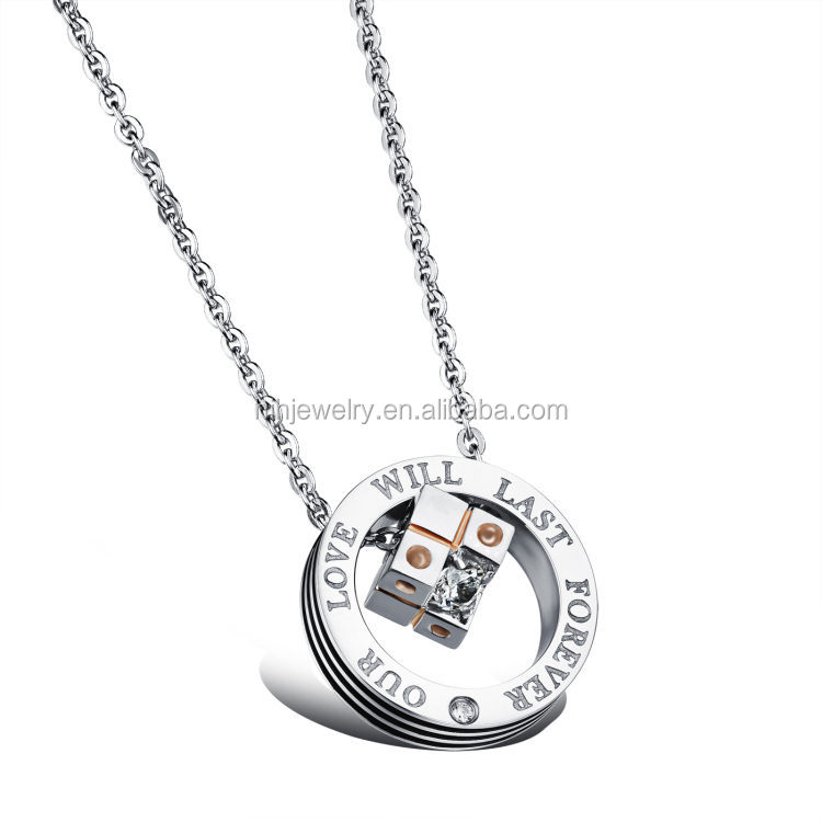 necklace set jewelry circle magic square inside engraved customized couple necklace