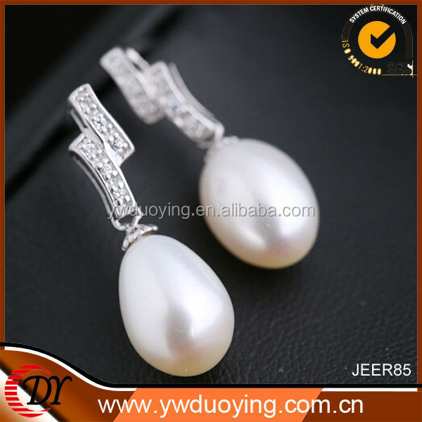 Wholesale 2014 Fashion Jewelry 925 Sterling Silver Natural Pearl Earring