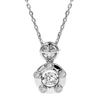 Fashion 925 sterling silver necklace with round shaped zircon