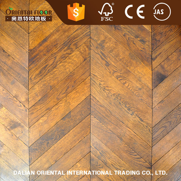 Hot selling hardwax oil fishbone parquet wood flooring oak