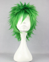 Anime Party Men Green Cosplay Short Spike Wig Synthetic Hair Wig N487