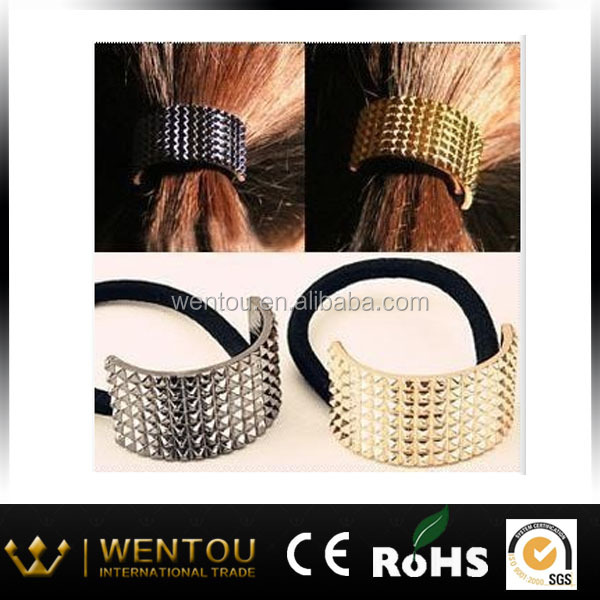 Golden Metal Rivet Hair Tie Wrap Ponytail Holder