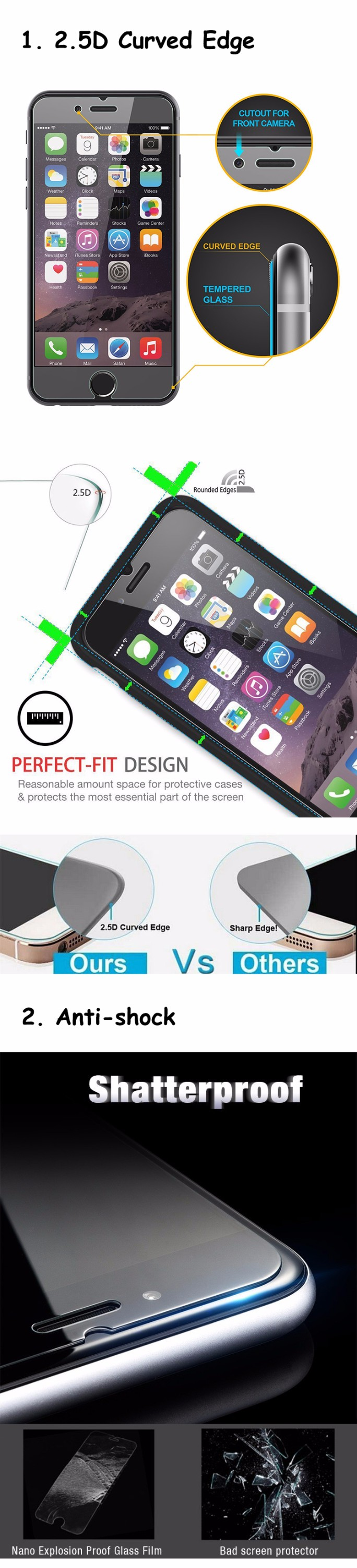 High quality anti shock anti fingerprint anti friction screen saver for iphone 7 protector