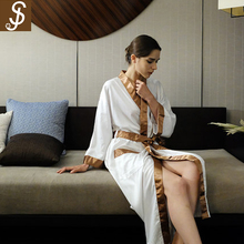 S&J 5 stars hotel new design soft sex women bathrobe comfartable thin sexy see through sleepwear