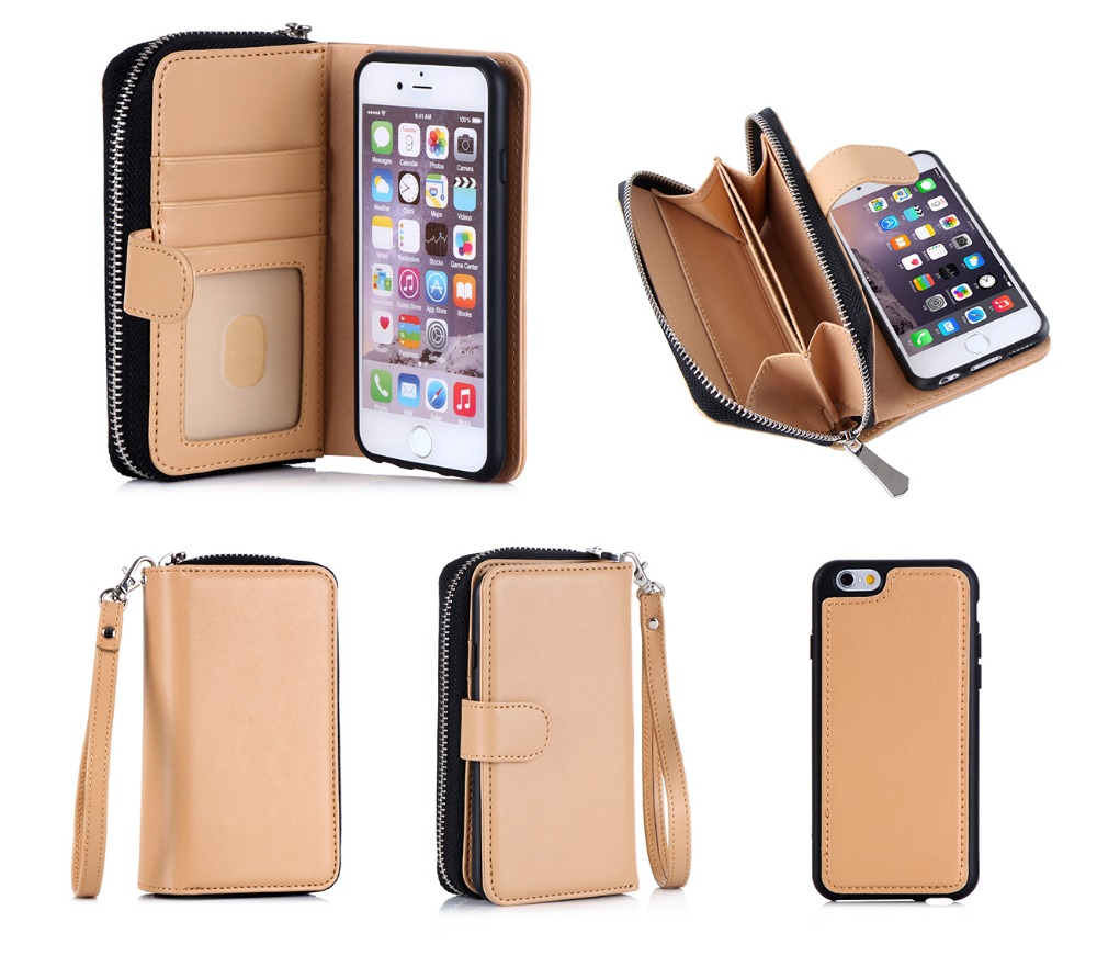 Removable Wallet Phone Bag Leather Mobile Phone Case With Zipper For iPhone 6S
