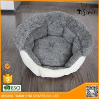 Cozy luxury linen fabric dog bed outdoor
