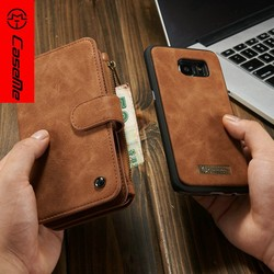 Multifunctional flip leather case and credit card holder cover for Samsung galaxy s7 edge with zipper wallet case