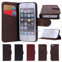 New Top Layer High Quality Real Cow Leather, for iphone 5/5s wallet leather case